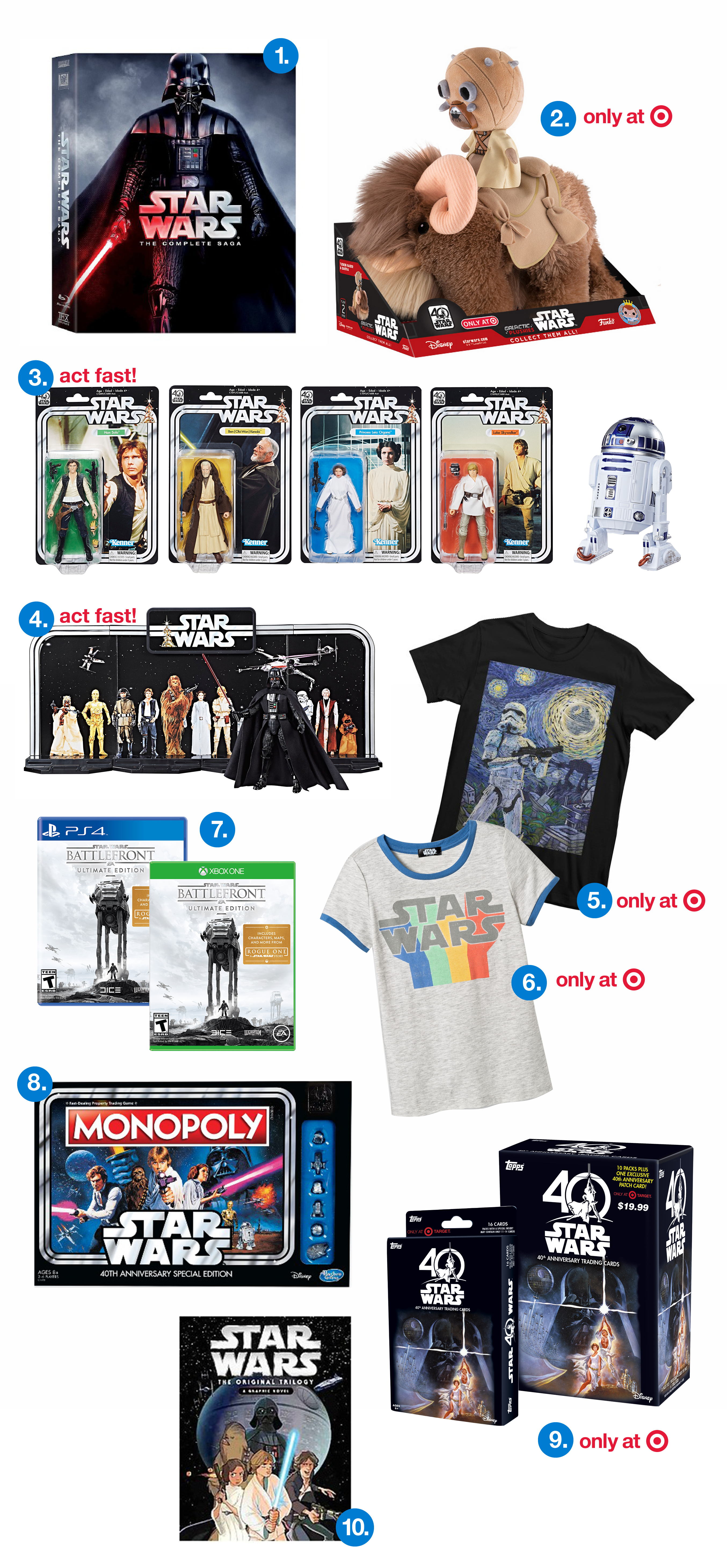 "A collage of ten Star Wars products: 1) DVD set featuring Darth Vader, 2) ""only at Target"": fuzzy plush toy 3) ""act fast"": action figures 4) ""act fast!"" throw-back figure display 5& 6) ""only at Target"" t-shirts 7) Video games 8) special edition Monopoly 9) ""only at Target"" two boxes of trading cards 10) graphic novel"