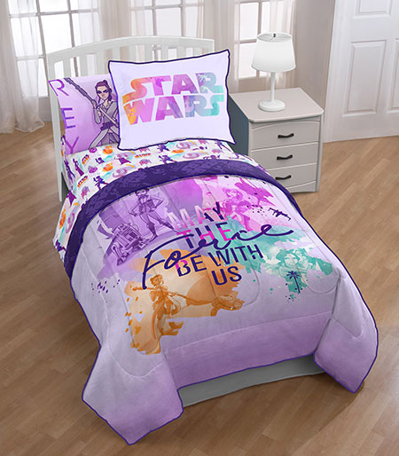 "Star Wars purple/pink/teal/orange twin bed set with text: ""May the Force be With Us"""