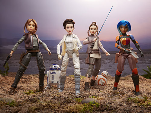 11-inch figures of Jyn, Leia, Rey and Sabine, with R2-D2 and BB-8