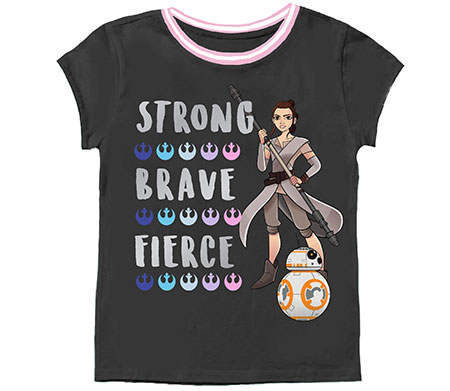 "Grey t-shirt with pink piping w/ Rey and BB-8, and text: ""Strong  Brave Fierce"""