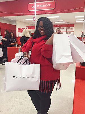 A guest shopping the Victoria Beckham for Target collection