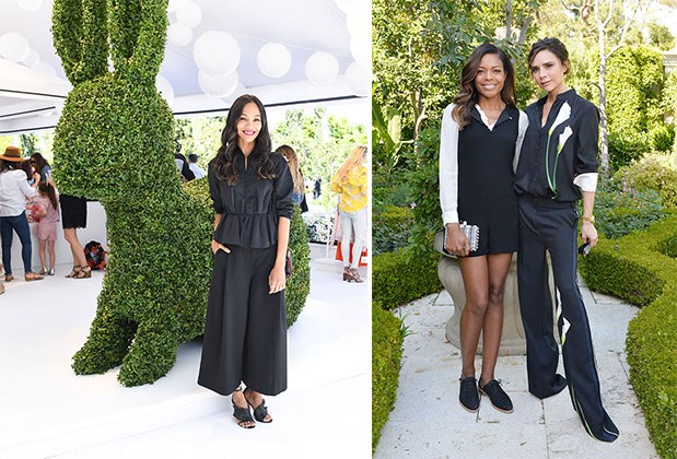 Zoe Saldana stands next to a bunny topiary; Naomie Harris and Victoria Beckham stand in the garden