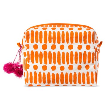 An orange and white printed bag