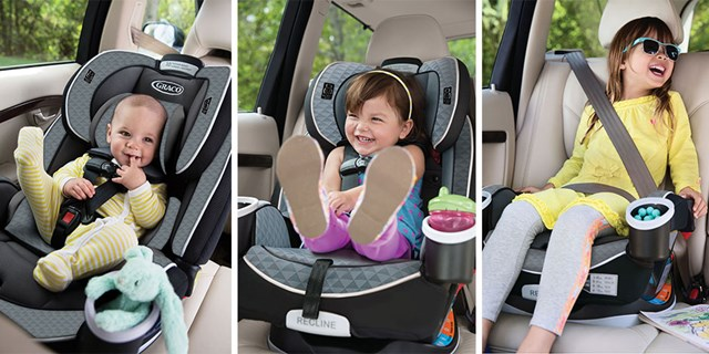 A baby, toddler and little girl buckled into their car seats