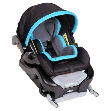 A black and teal car seat