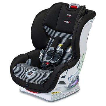A black, grey and white car seat