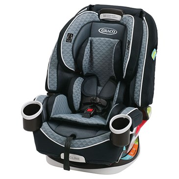 A black and grey car seat