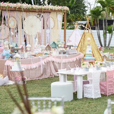 Pastel colored party setup with Target products
