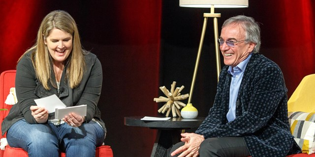 Target's Anne Stanchfield talks with Cirque's Daniel Lamarre on stage