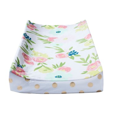 Floral suede plush changing pad cover