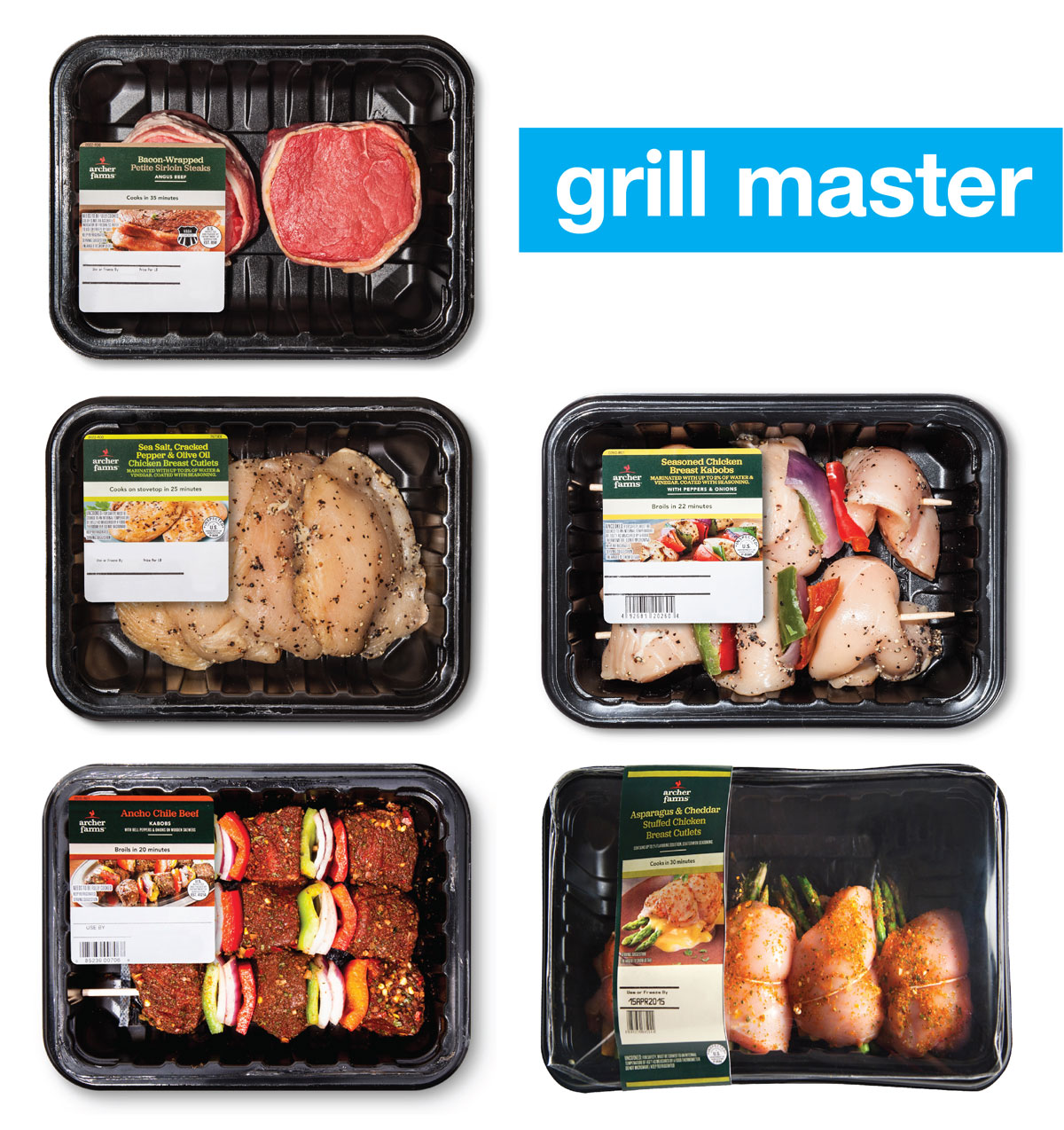 "Below a ""Grill master"" headline are five packages of grab & go grilling meat."