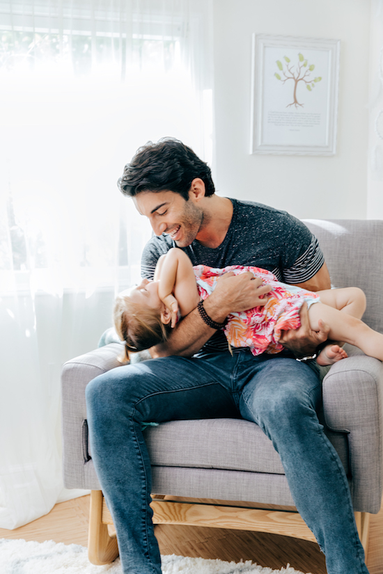 Justin Baldoni and daughter Maiya in the new nursery