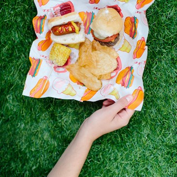 Hamburgers and hot dogs at the picnic