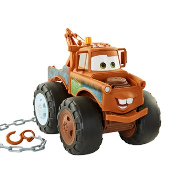 A Tow Mater character truck with chain for hauling