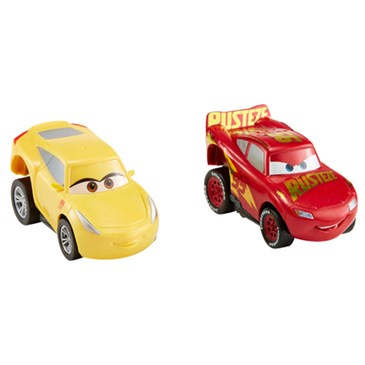 A yellow Cruz Ramirez and a red Lightning McQueen car