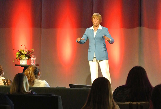 Diana Nyad tells a story onstage at the Outer Spaces event
