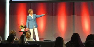 Diana Nyad speaks to the audience onstage at the Outer Spaces event