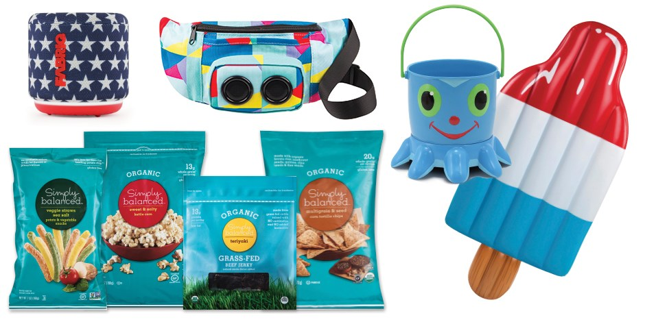 A portable speaker, fanny pack, sand bucket, popsicle pool float and Simply Balanced snacks