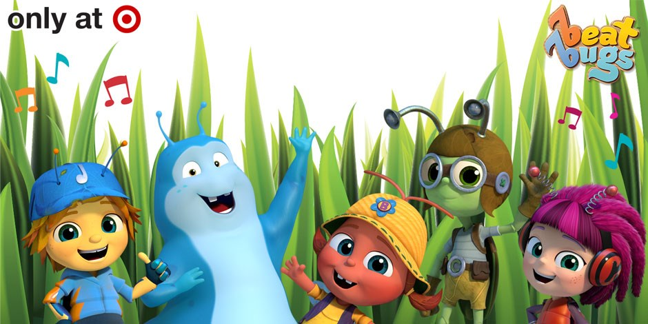 Five Beat Bugs characters are shown in a grassy background w/