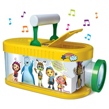 A yellow and green bug catcher with Beat Bugs characters on the side and music notes radiating from
