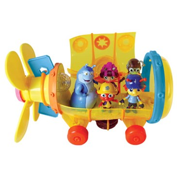 A yellow submarine with five Beat Bugs figures inside