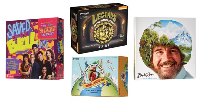 Saved by the Bell, Legends of the Hidden Temple, Carmen Sandiego and Bob Ross game boxes