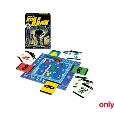 A box featuring bank robbers dressed in black with game pieces