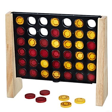 Wooden Connect 4 board with red and yellow game peices