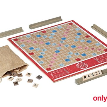Wooden Scrabble board with letters and pouch
