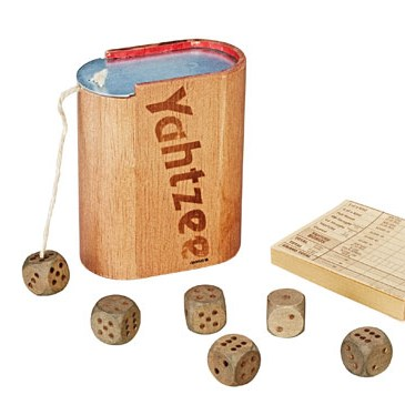 Wooden Yahtzee with dice and game pad