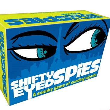 Suspicious-looking blue eyes on a blue and neon green box