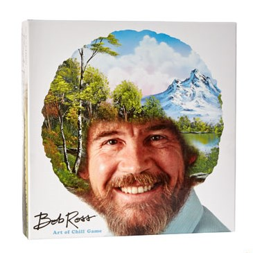 Photo of Bob Ross with landscape painting overlaid on his hair