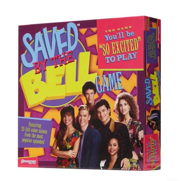 The cast of Saved by the Bell against a multi-colored neon background