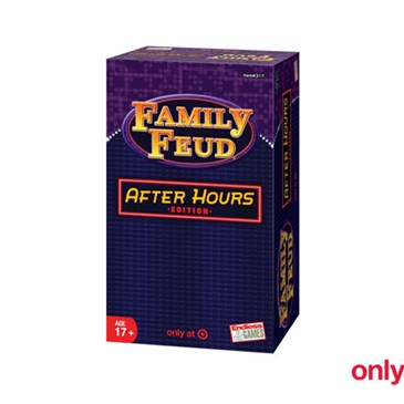 A blue and purple box featuring the Family Feud logo and noting 17