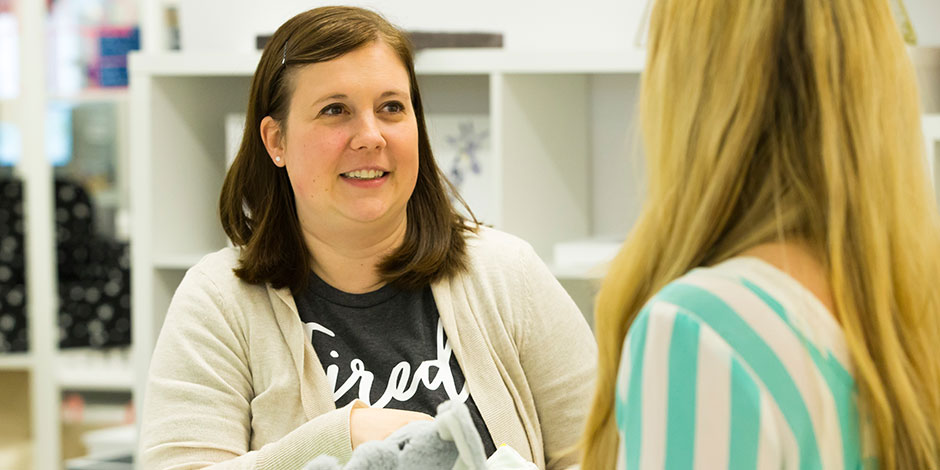 Target designer Elisa McBride talks to a colleague