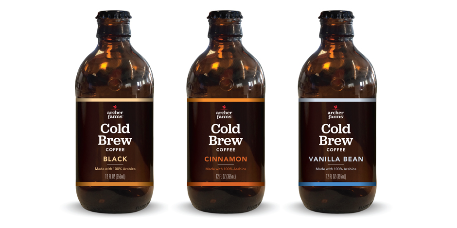 Three bottles of new Archer Farms Cold Brew Coffee: Black, Cinnamon and Vanilla Bean flavors