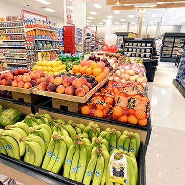 The food and beverage department with closeup of fresh produce