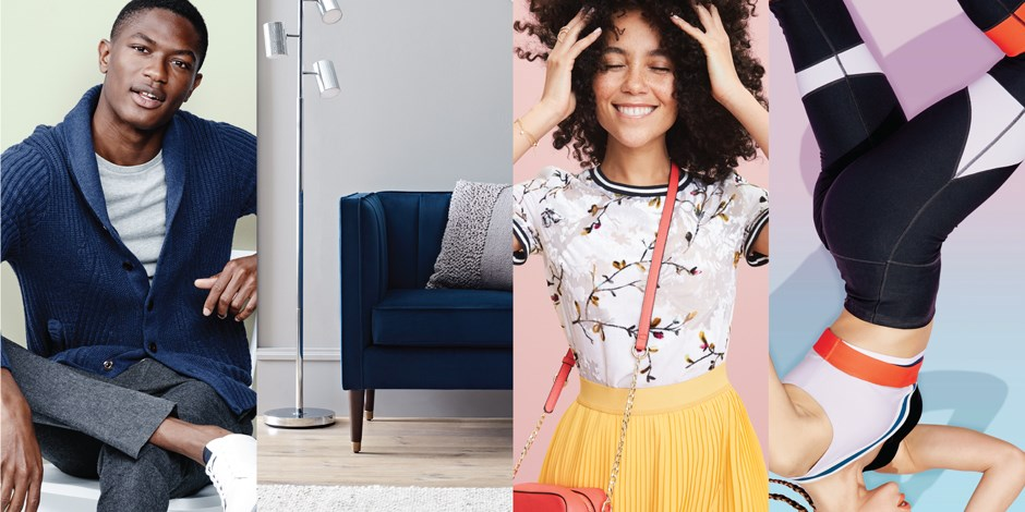 A split-screen shows four different lifestyle images, representing the new brands