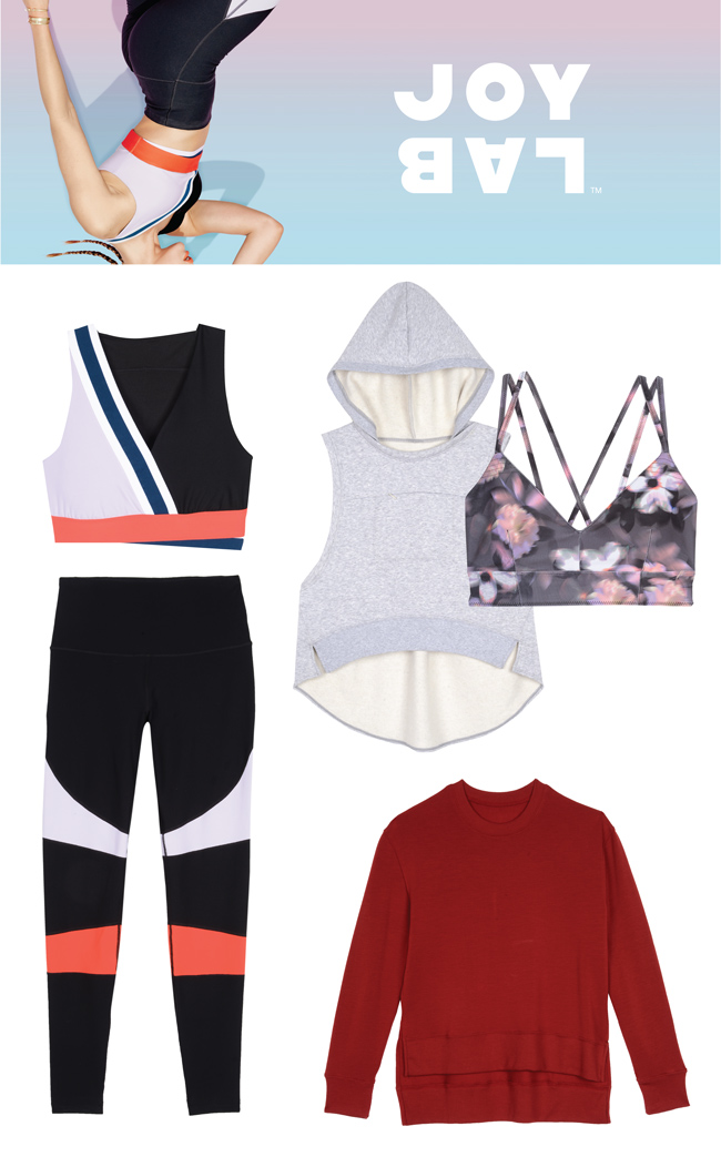 "Below a pastel header with an upside-down picture of a woman in workout gear and a ""Joy Lab"" logo, is a variety of products, including athletic top and leggings, sports bra and sweater"