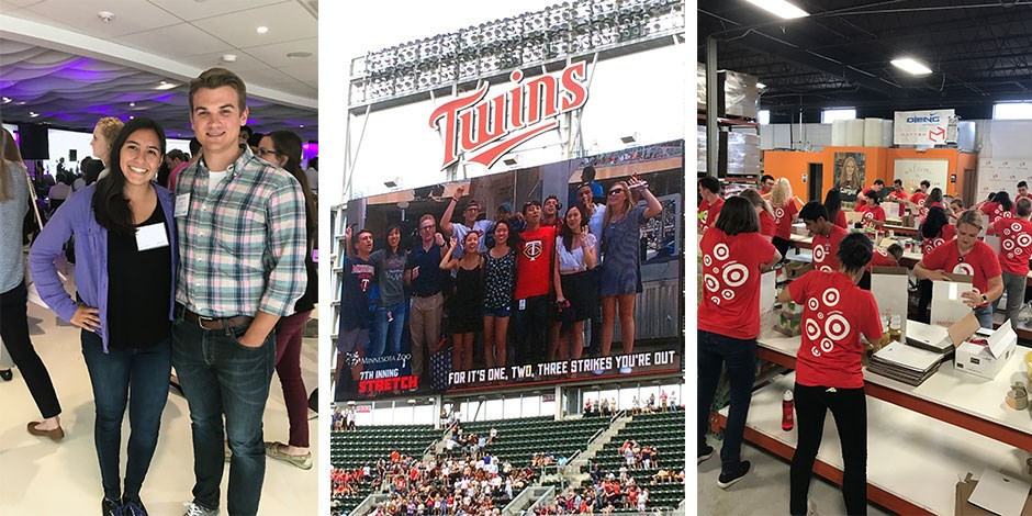 Fabiola and Brian; interns on the big screen at a Twins game; Target volunteers packing boxes