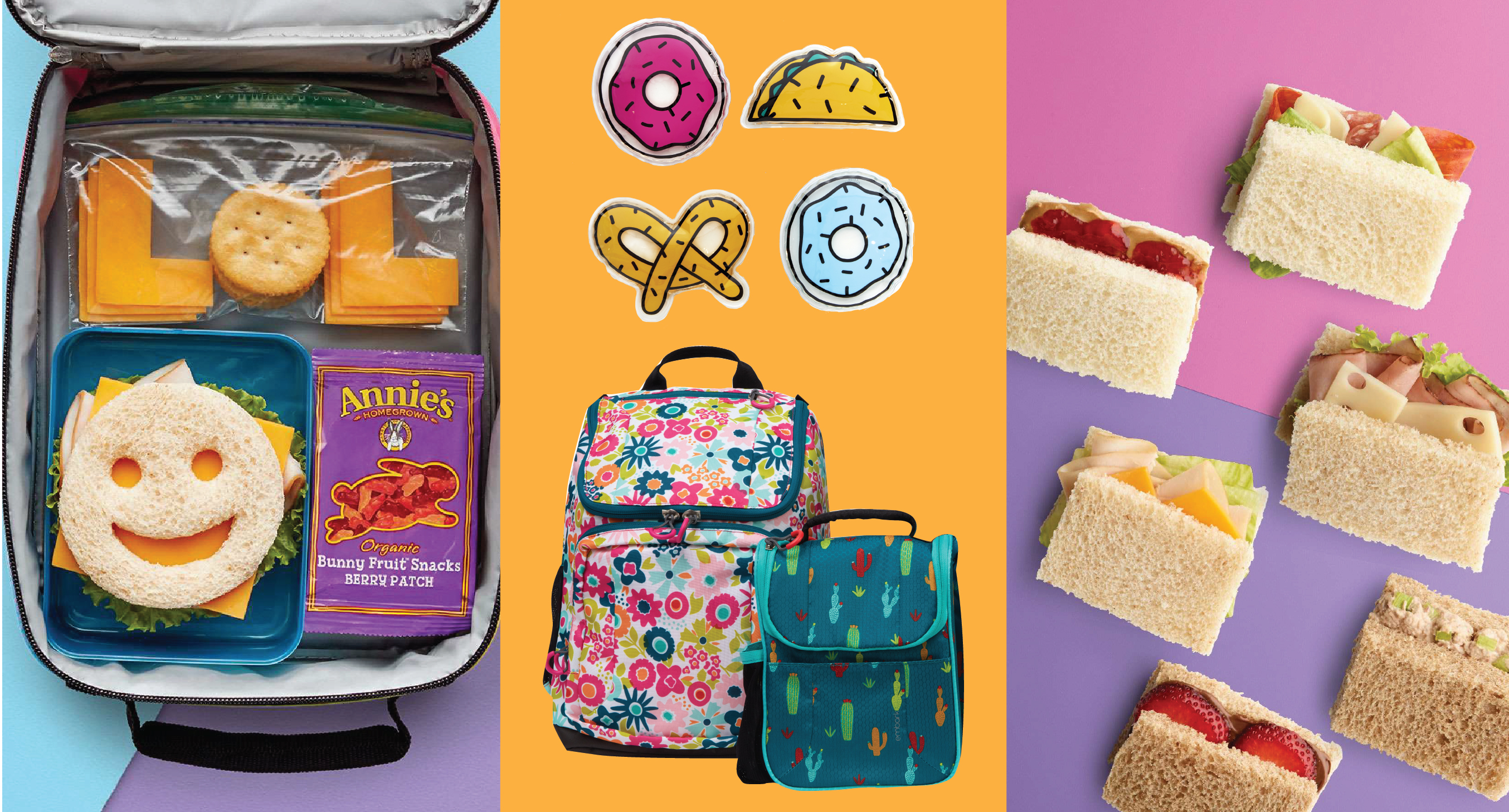 A smiley-face sandwich and LOL cheese & crackers, food-shaped cooler packs with a backpack and lunch kit, and a variety of sandwiches