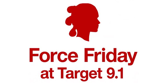 Red profile of Rey and red text on white background that reads: Force Friday at Target 9.1