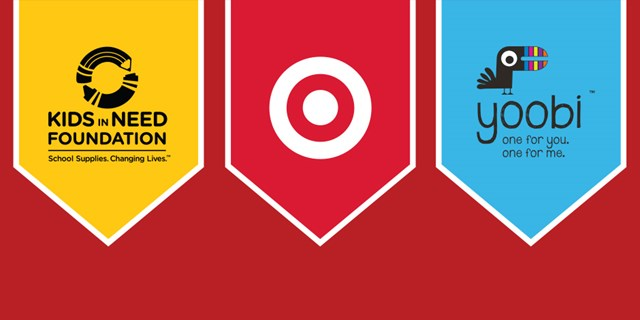3 banners in yellow, red & blue on red background w/ Kids in Need Foundation, Target & Yoobi logos
