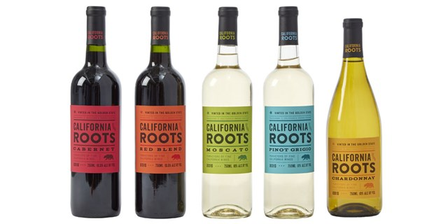 Five bottles of California Roots wine