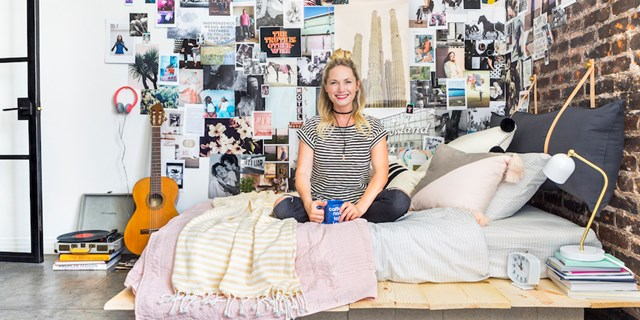 Emily Henderson in a styled dorm room setting