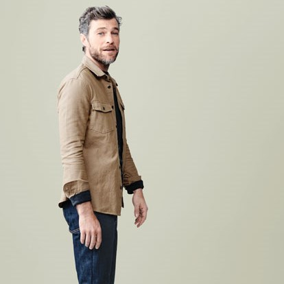 A man wearing a Goodfellow & Co camel jacket and jeans