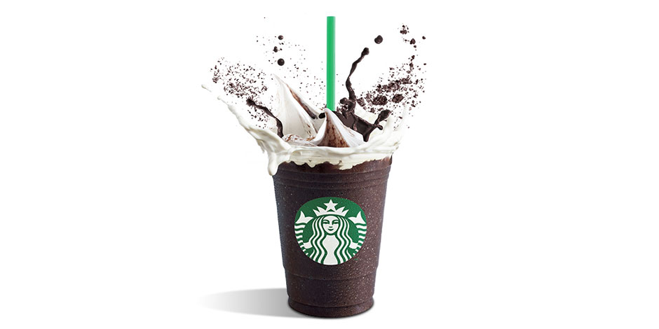 A dark mocha mix with whip cream splashes from a Starbucks cup