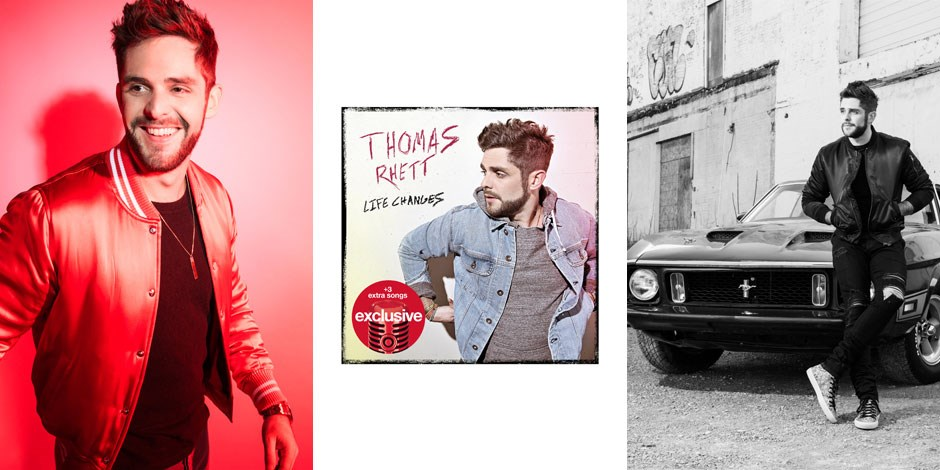 Two images of Thomas Rhett, with his new album cover
