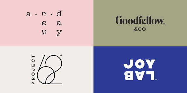 The A New Day, Goodfellow & Co, Project 62 and JoyLab logos are shown in four color blocks.