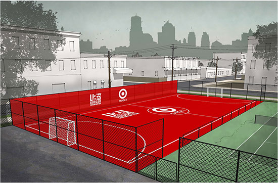 A rendering of a red playing field next to a school and tennis court with city skyline in the background